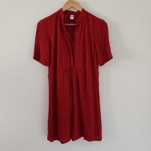 Pintucked Crepe Swing Dress Size S Short sleeve